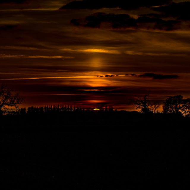 """""""Sunset over Scoulton"""" stock image"""