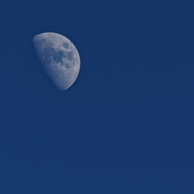 """Waxing gibbous moon, late afternoon"" stock image"