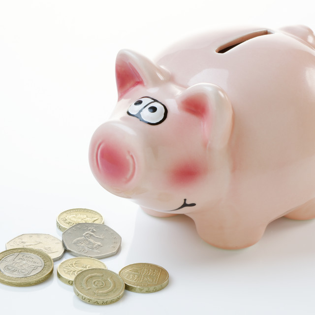 """Pink Piggy Bank with Money"" stock image"