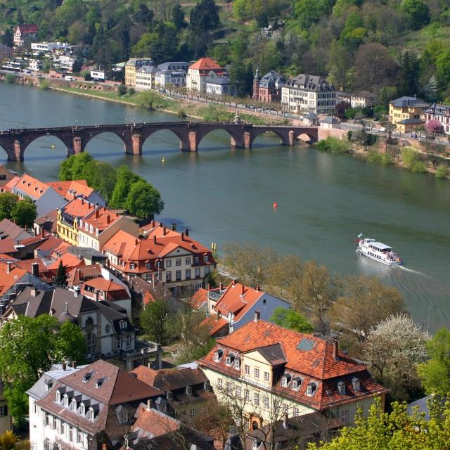 """""""The River Neckar at Heidelberg"""" stock image"""