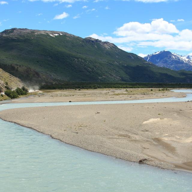 """""""Rio de las Vueltas near El Chalten in Los Glaciares National Park, Argentina"""" stock image"""