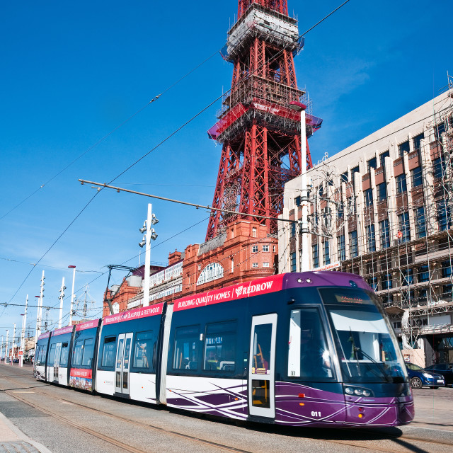 """""""Blackpool Tram and Tower"""" stock image"""