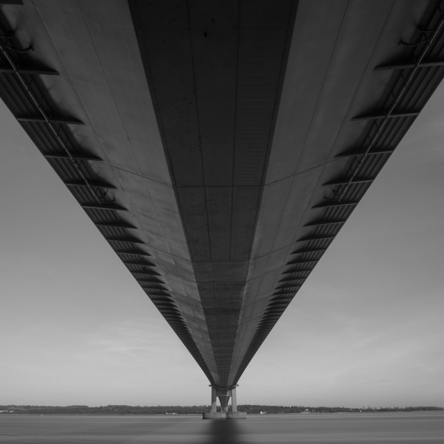 """Humber Bridge - underside - mono"" stock image"