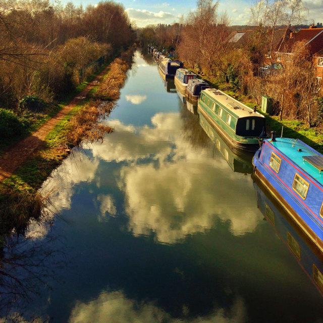 """Barges at Aldermaston, Berkshire"" stock image"