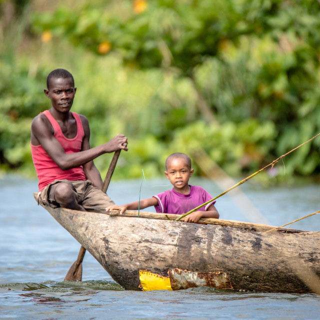 """Boys on Canal des Pangalanes"" stock image"