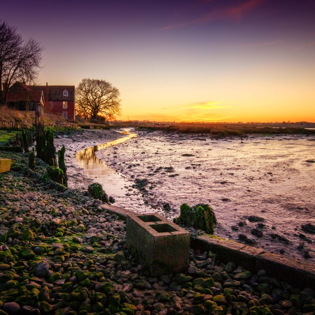 """Sunset Landermere Quay"" stock image"