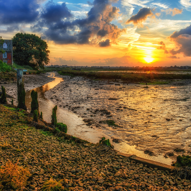 """Summer Sunset Landermere Quay"" stock image"