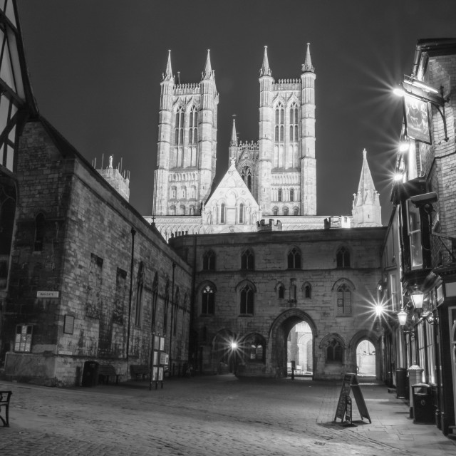 """Lincoln at night, in black and white"" stock image"