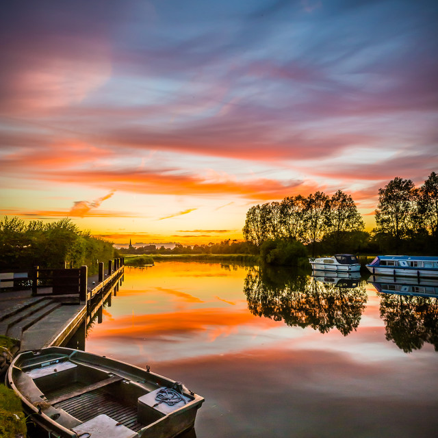 """Sunset at the canal"" stock image"
