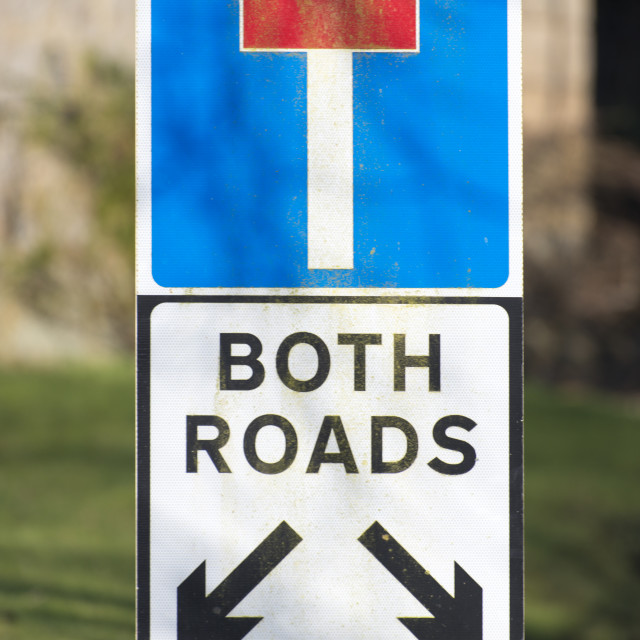 """Dead end both roads"" stock image"