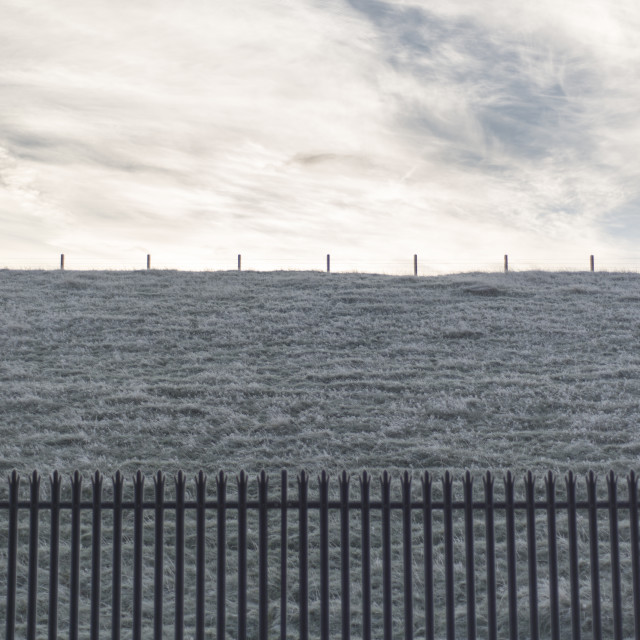 """""""Fenced off frosty horizon"""" stock image"""