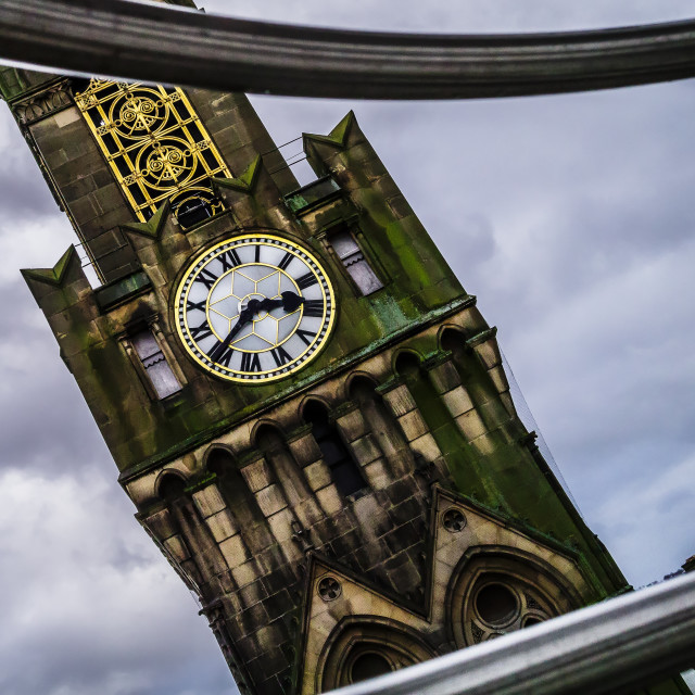 """""""Bradford Town Hall from the Wheel"""" stock image"""