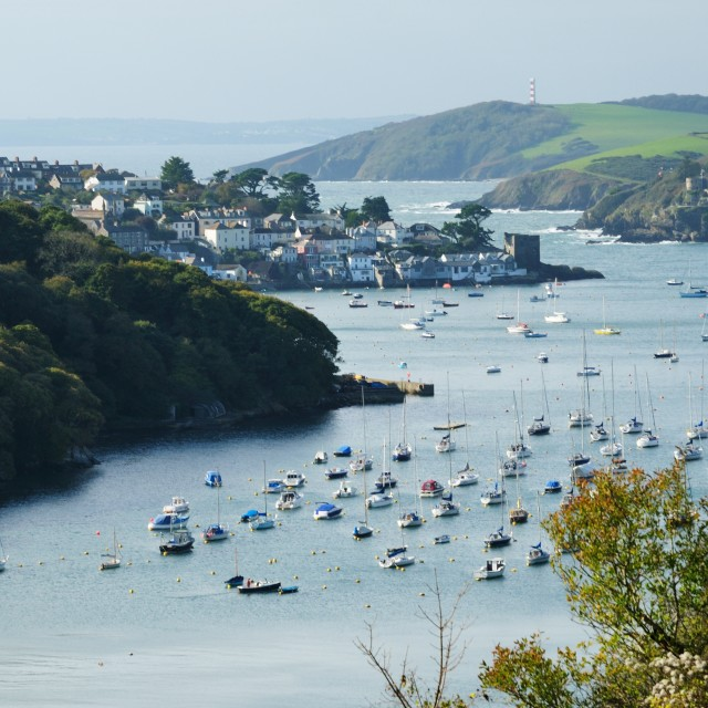 """Polruan and river Fowey, Cornwall, UK"" stock image"