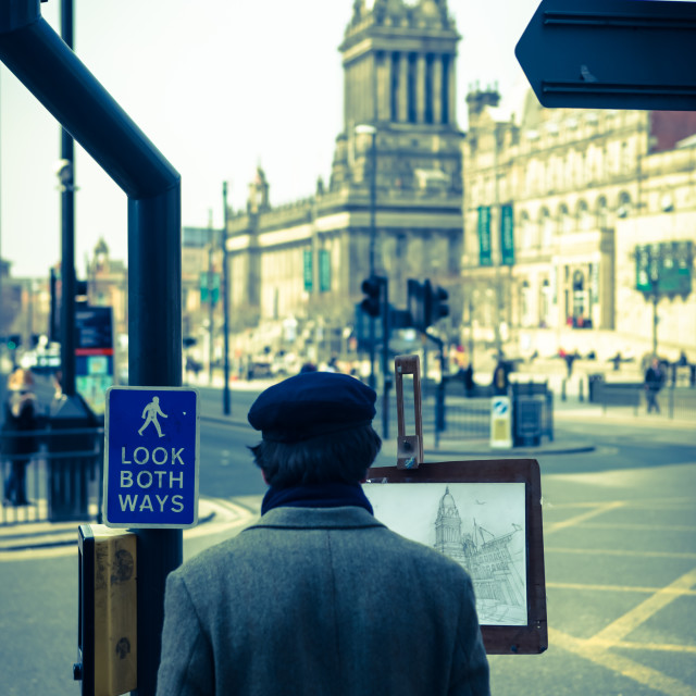 """Sketching Leeds Town Hall"" stock image"