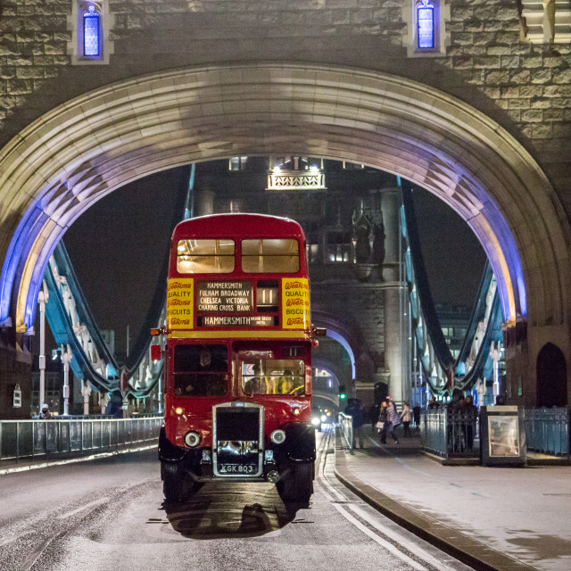 """Classic London Bus on Tower Bridge"" stock image"