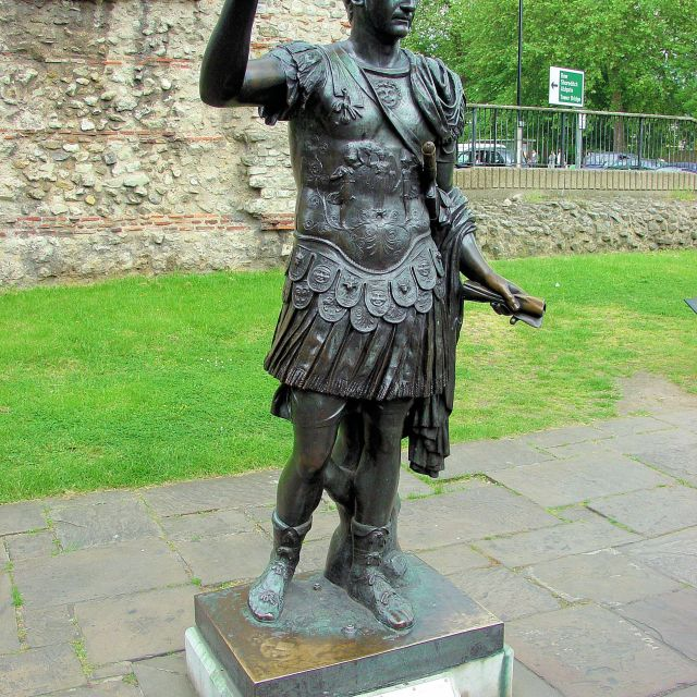 """Emperor Trajan and Roman Wall, London"" stock image"