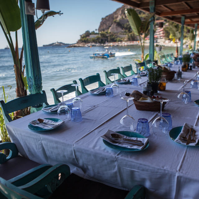 """Beach Restaurant on the Côte d'Azur"" stock image"