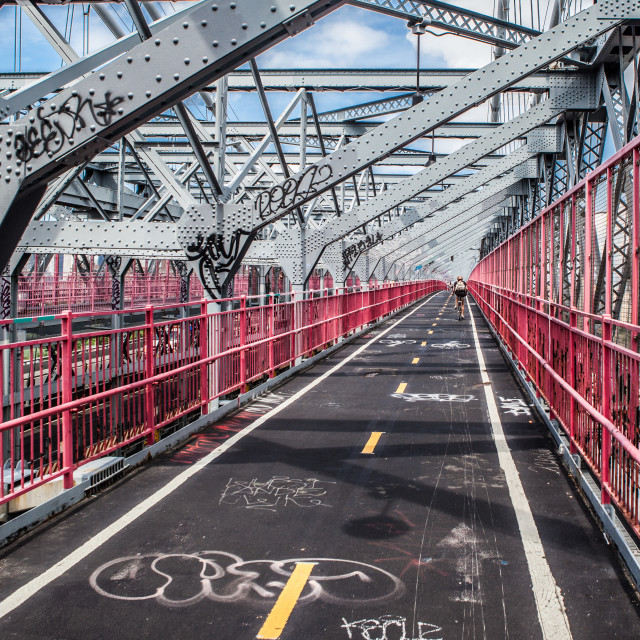 """Williamsburg Bridge Cycle Lane"" stock image"