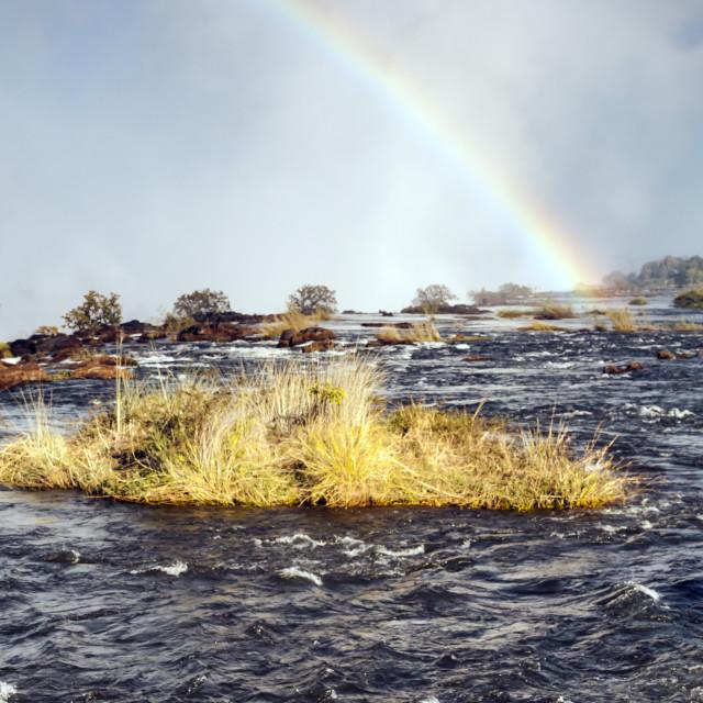 """Rainbows Over Victoria Falls"" stock image"