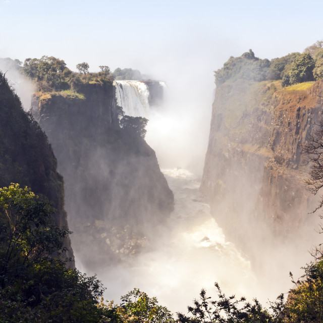 """Victoria Falls from Zimbabwe"" stock image"