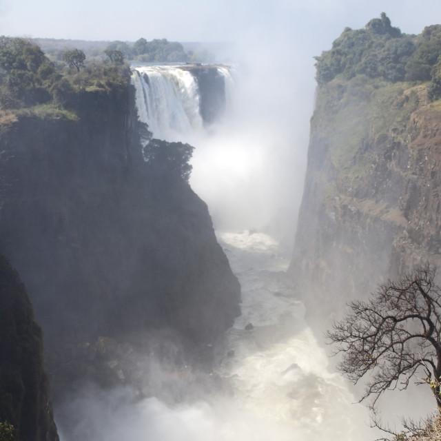 """Victoria Falls from Zimbabwe"" stock image"