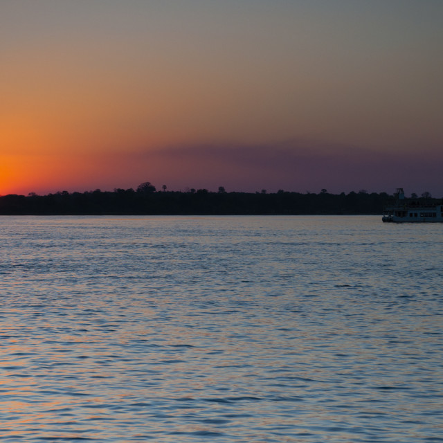 """Sunset on the River Zambezi"" stock image"