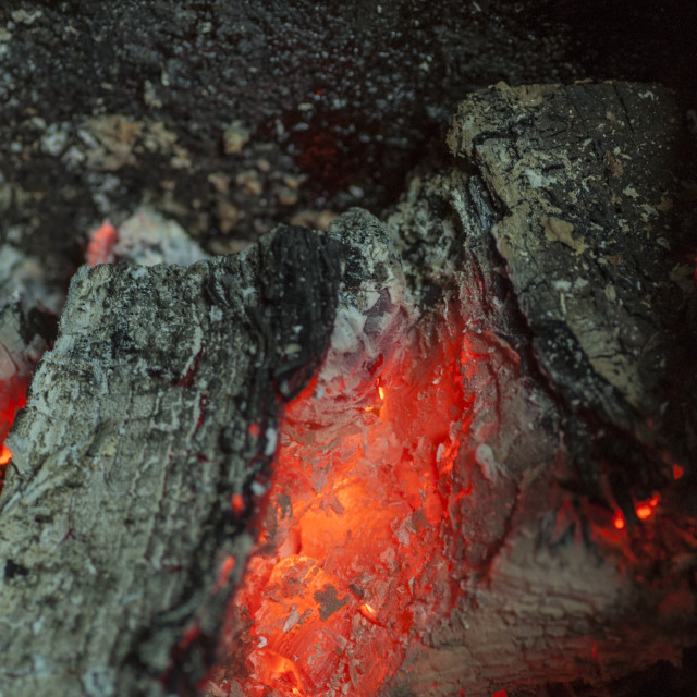 """""""Burning wood and embers"""" stock image"""