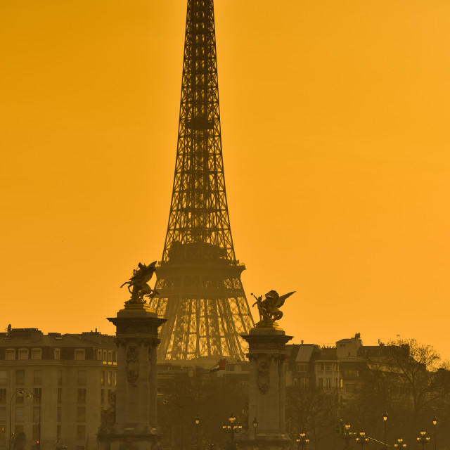 """""""View Of Eiffel Tower At Sunset"""" stock image"""