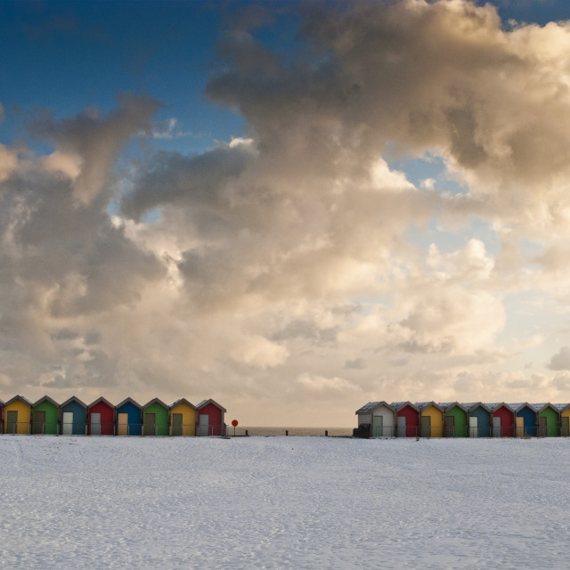 """Beach huts in snow"" stock image"