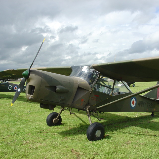 """Auster AOP.9 under a dark sky"" stock image"