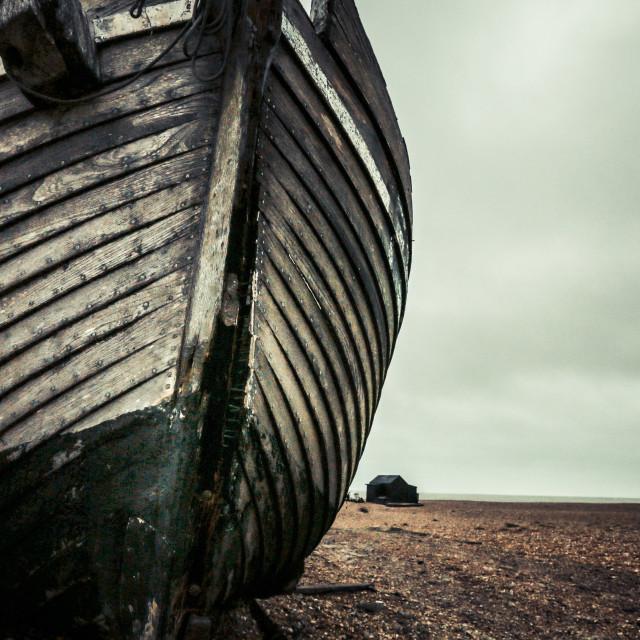 """big boat tiny hut"" stock image"