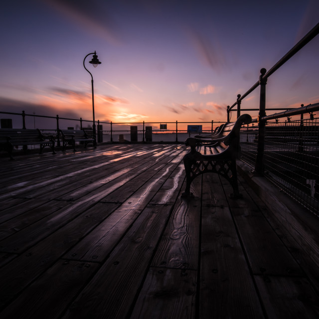 """""""Dramatic Sunset after the Rain on the Pier"""" stock image"""