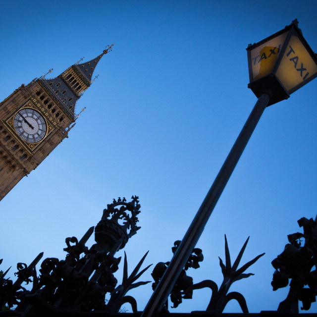 """big ben and taxi sign"" stock image"