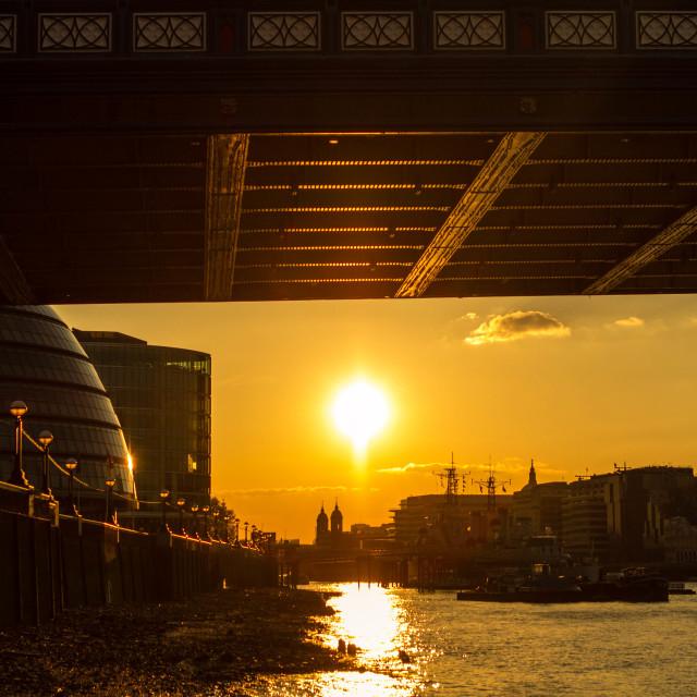 """sunset under tower bridge"" stock image"