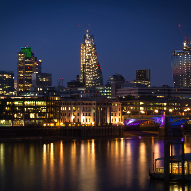 """reflections on a london evening"" stock image"