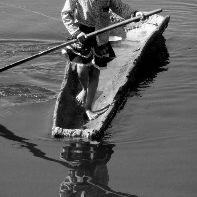 """Girl With Canoe"" stock image"