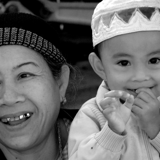 """Cham Boy With Mother"" stock image"