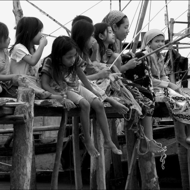 """""""Cham Girls Fishing"""" stock image"""