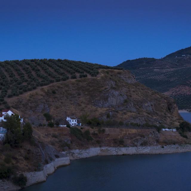 """Moon Rise, Andalucia, Córdoba, Iznájar, Spain"" stock image"