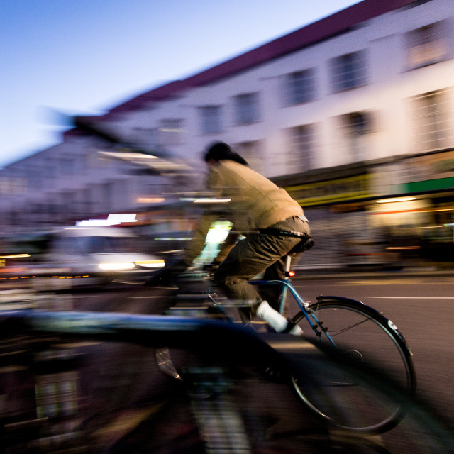 """panning cyclist 2"" stock image"