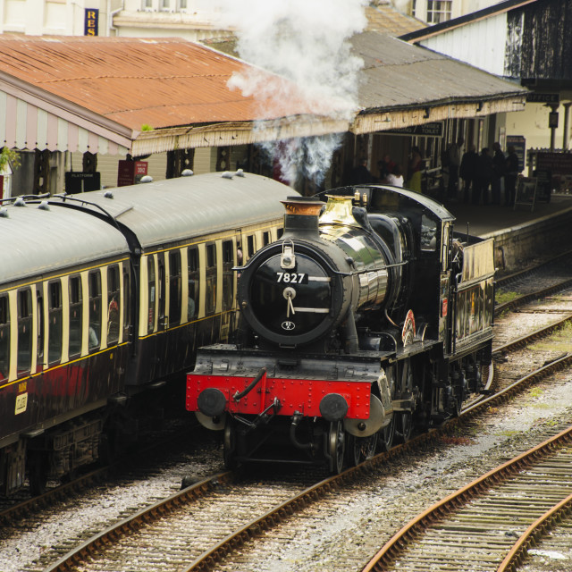 """Steam locomotive at Kingswear station"" stock image"