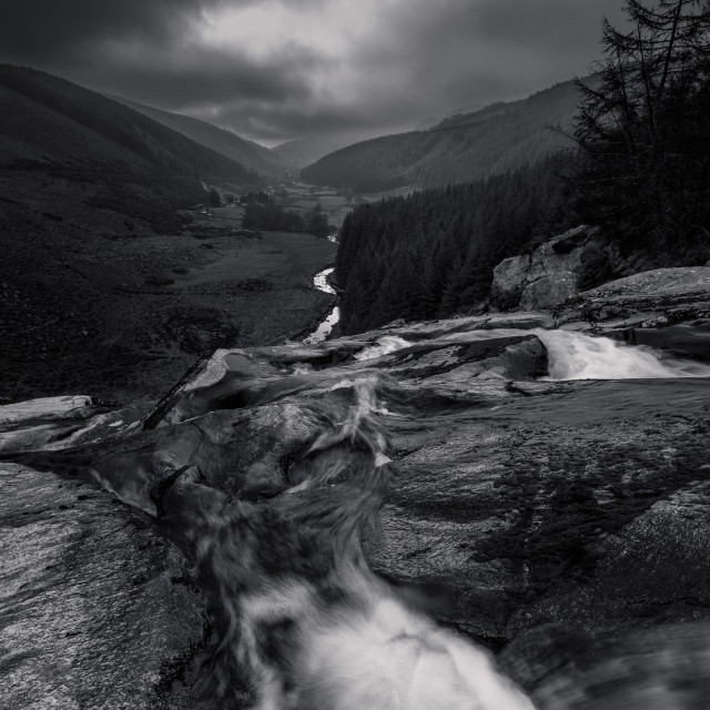 """Glen Macnass Waterfall (b&w)"" stock image"