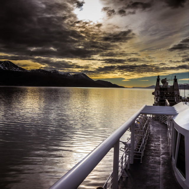 """""""Evening from aboard ship"""" stock image"""