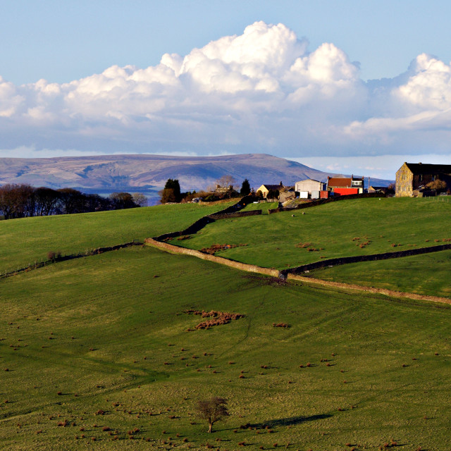 """""""Hilltop Farm in the Pennines"""" stock image"""