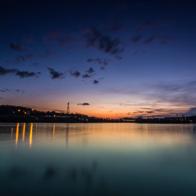 """Sunset Over The Kanawha River"" stock image"