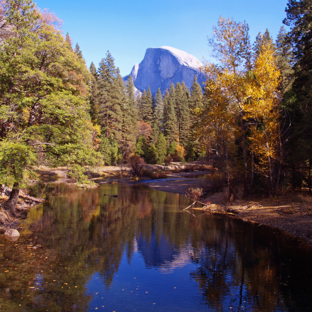 """Merced River and Half Dome"" stock image"
