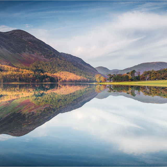 """Buttermere reflections"" stock image"