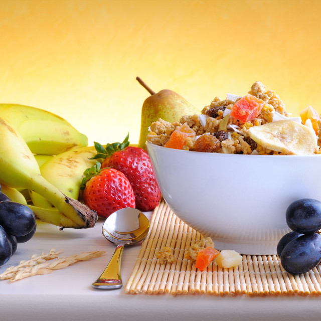 """""""Bowl of cereal and fruits front view"""" stock image"""