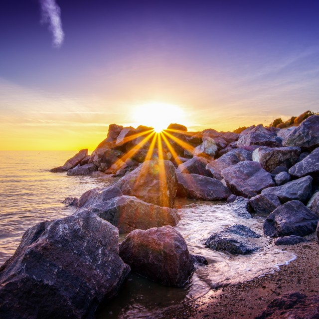 """""""Sunset on Top of the Rocks"""" stock image"""