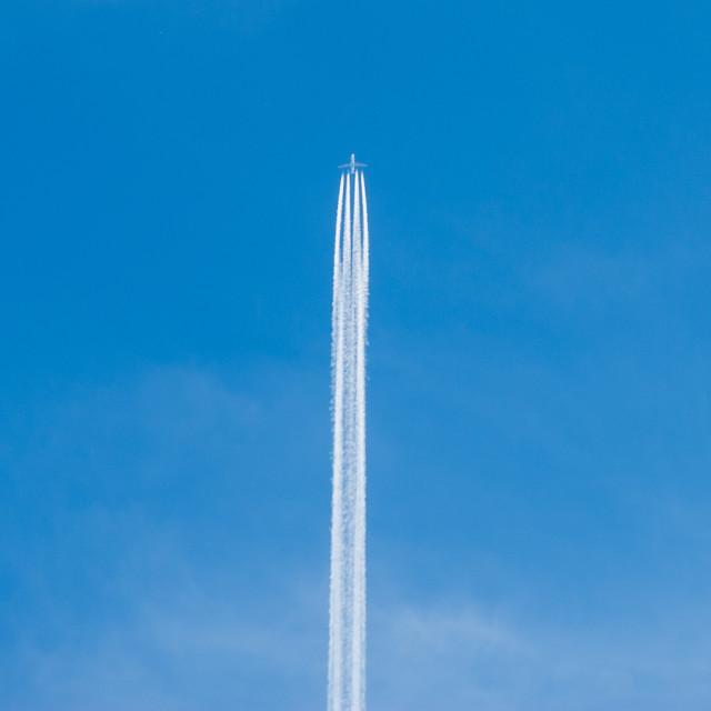 """Aircraft vapour trail"" stock image"